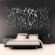 Art Nouveau Web Panel Brushed Aluminum Wall Sculpture