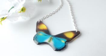 Autumn Orchard Blue Butterfly Resin Necklace