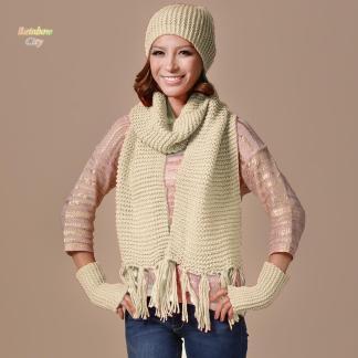 Autumn Winter Hat Scarf Gloves Set Knit Scarves