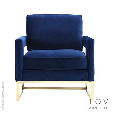 Avery Navy Velvet Chair Tov Furniture Metropolitandecor