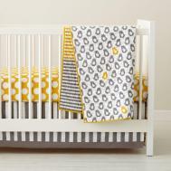 Baby Crib Bedding Grey Yellow Patterned