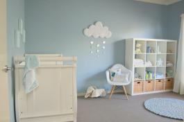 Baby Nursery Decor Clouds Rainy Blue White