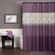 Bathroom Lovely Details Purple Curtain Towel