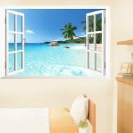 Beach Window Removable Wall Art Sticker Vinyl