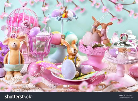 Beautiful Easter Table Decoration Painted Eggs Stock