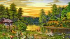 Beautiful Landscape Nature Trees River House