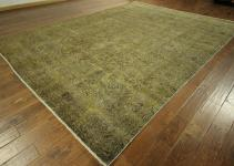 Beautiful X12 Overdyed Green Floral Hand Knotted Wool