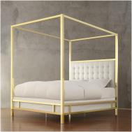Bedroom Black Wooden Queen Canopy Bed