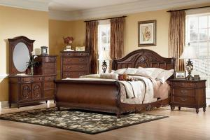 Bedroom Contemporary Design King Sleigh Bed
