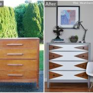 Before After Mod Geometric Dresser Makeover