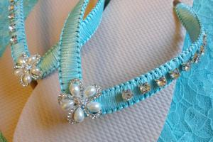 Beige Bridal Flip Flops Decorated Aqua
