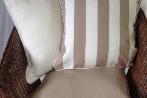 Beige Stripe White Cushion Covers Neutral Cotton