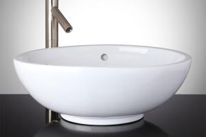 Biela Oval Porcelain Vessel Sink Bathroom