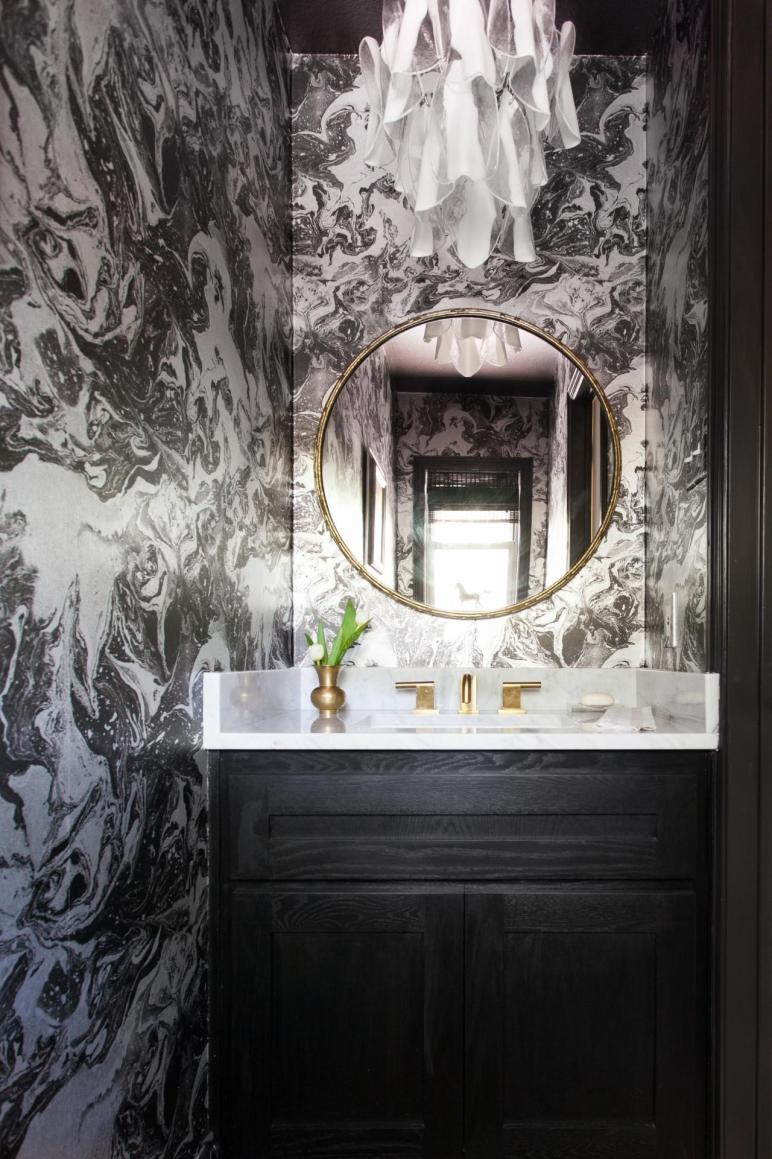 Black White Powder Room Photos