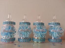 Blue Fillable Bottles Baby Shower Favors Prizes