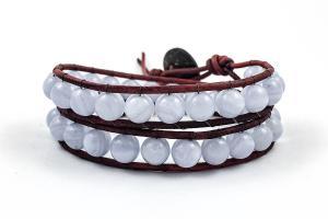 Blue Lace Agate Wrap Bracelet Leather