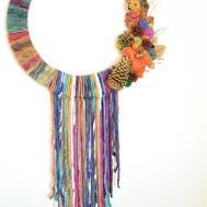 Boho Inspired Yarn Wrapped Fall Wreath Diy