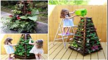 Build Vertical Garden Pyramid Tower Diy Outdoor