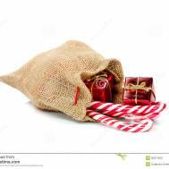 Burlap Gift Bag Stock
