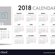 Calendar 2018 Template Design Week Starts Vector