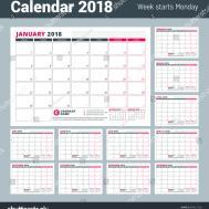 Calendar Template 2018 Year Business Planner Stock Vector