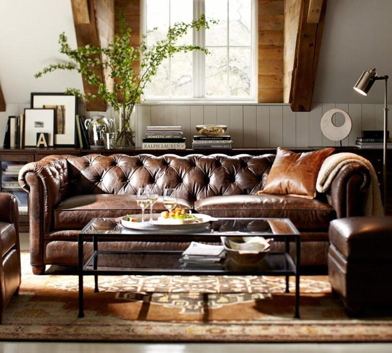 Chesterfield Leather Sofa 218 Pottery Barn