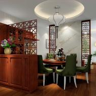 Chinese Style Dining Room Pane Rendering House