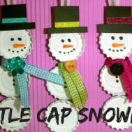 Christmas Craft Bottle Cap Snowman Crafts