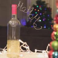 Christmas Glitter Wine Bottle Decoration Diy