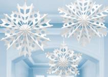 Christmas Large Snowflake Ceiling Paper Fans Hanging