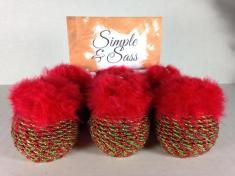 Christmas Place Card Holders Wrapped Red Green Cording