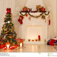 Christmas Room Interior Design Xmas Tree Decorated