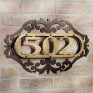 Classic Iron Plate House Number Ideas Brick Wall Decor