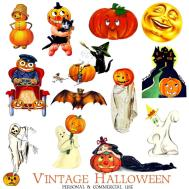 Clip Art Halloween Vintage Greeting Cards Digital