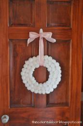 Colored Door Winter Pom Wreath