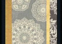 Contemporary Lace Yellow Grey Doily Pattern Framed Art