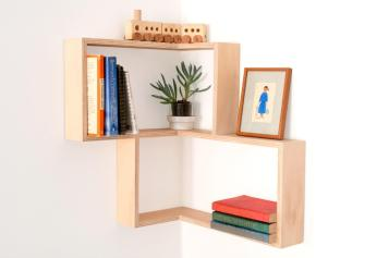 Corner Shelf Display Cabinet Book Vintage Mid Century Unit
