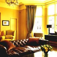 Cozy Brown Leather Sofa Yellow Living Room Design