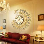 Creative Gold Peacock Large Wall Clock Metal Living