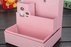 Cute Paper Board Storage Box Desk Decor Stationery Makeup