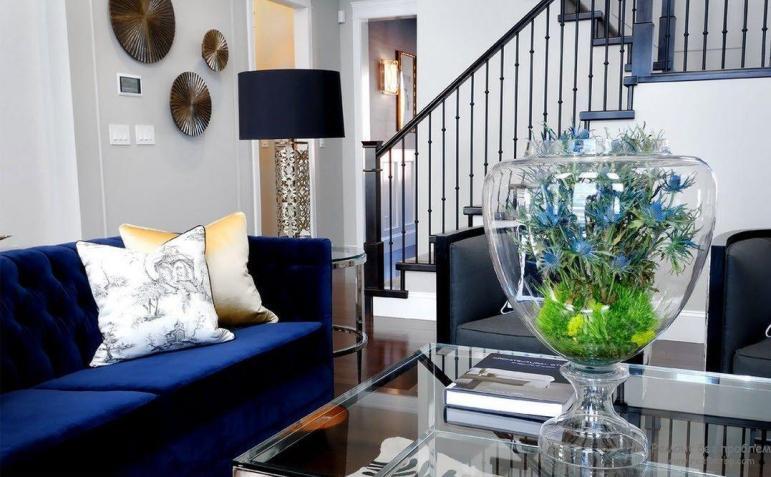 Decorating Living Room Navy Blue Furniture Home