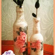 Decoupage Yarn Bottle Decorations Diy Craft Ideas Tutorial