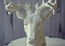 Deer Art Bust Home Decor Antlers Faux Taxidermy Buck Rack