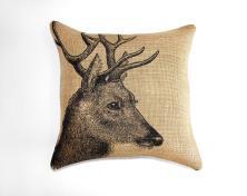 Deer Pillow Burlap Cushion Rustic Decorative