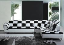 Divani Casa K8478 Modern Black White Checkered Leather