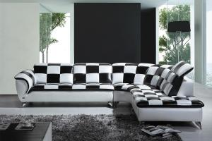 Divani Casa K8478 Modern Black White Checkered Leather