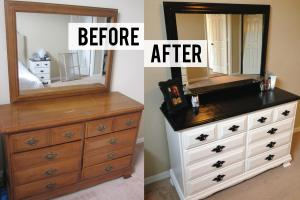 Diy Black White Dresser Makeover Thriftingpretty
