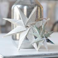 Diy Christmas Ornament Book Map Paper Star