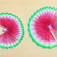 Diy Paper Hand Fan Watermelon Lovely Handmade