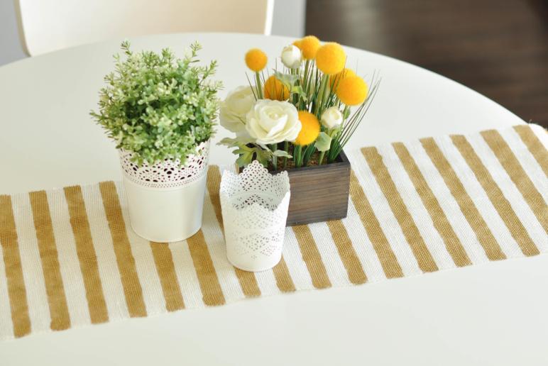 Diy Sew Gold Striped Burlap Table Runner Under